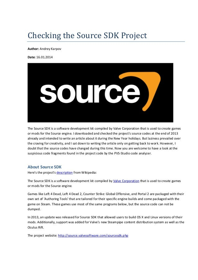 Checking the Source SDK Project