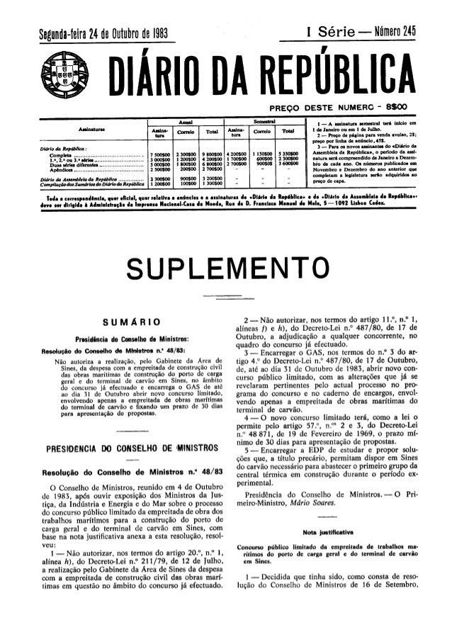 GABINETE DA ÁREA DE SINES - Resolução do Conselho de Ministros 48/83, de 4 de Outubro