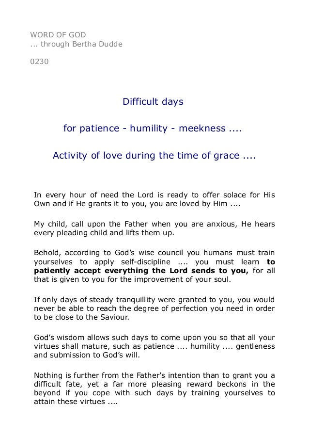 0230 Difficult Days For Patience Humility Meekness Activit