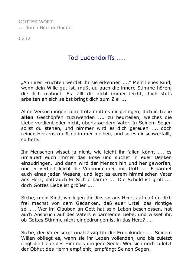 """GOTTES WORT ... durch Bertha Dudde 0232 Tod Ludendorffs .... """"An ihren Früchten werdet ihr sie erkennen ...."""" Mein liebes ..."""