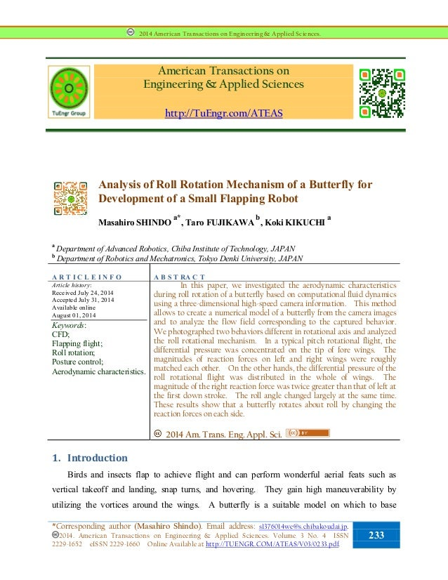 American Transactions on Engineering & Applied Sciences http://TuEngr.com/ATEAS Analysis of Roll Rotation Mechanism of a B...