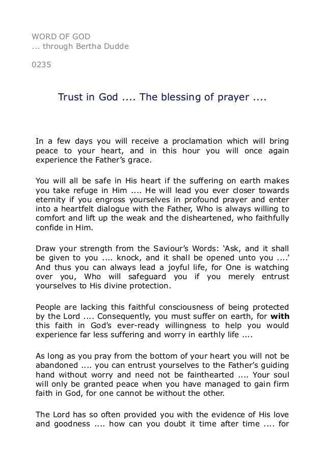0235 Trust in God      The blessing of prayer