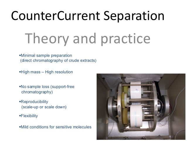 CounterCurrent Separation Theoryandpractice §Minimal sample preparation (direct chromatography of crude extracts) §High ...