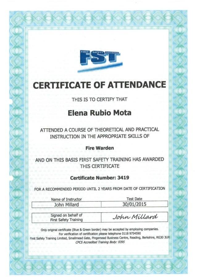 Fire Warden certificate
