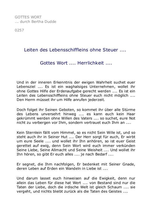 GOTTES WORT ... durch Bertha Dudde 0257 Leiten des Lebensschiffleins ohne Steuer .... Gottes Wort .... Herrlichkeit .... U...