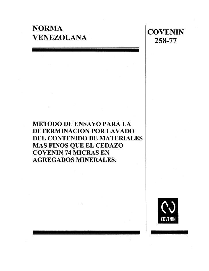 0258 1977 Norma Det Contenido Fino Agregados