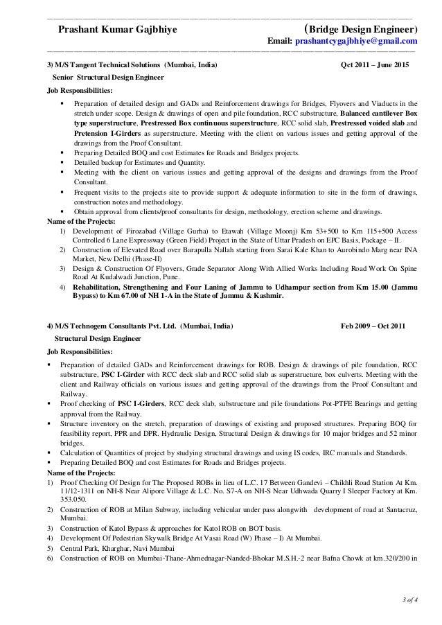3 Of 4 3) M/S Tangent Technical Solutions (Mumbai, India) Qct 2011 U2013 June  2015 Senior Structural Design Engineer Job Responsibilities: ...