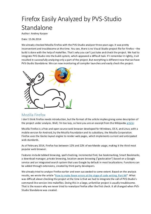 Firefox Easily Analyzed by PVS-Studio Standalone