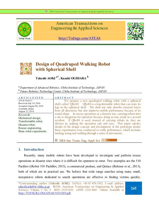 American Transactions on Engineering & Applied Sciences http://TuEngr.com/ATEAS Design of Quadruped Walking Robot with Sph...