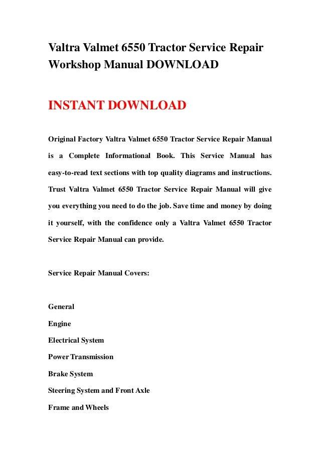Valtra Valmet 6550 Tractor Service RepairWorkshop Manual DOWNLOADINSTANT DOWNLOADOriginal Factory Valtra Valmet 6550 Tract...