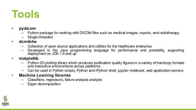 A Predictive Analytics Workflow on DICOM Images using Apache
