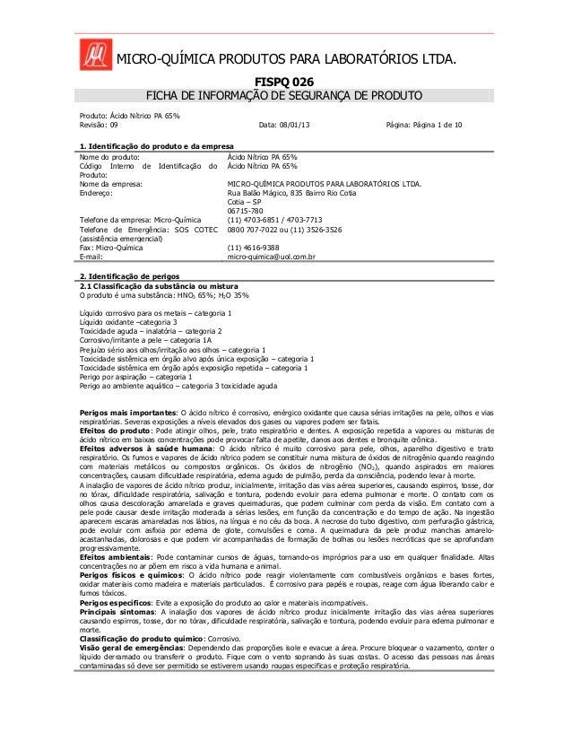 MICRO-QUÍMICA PRODUTOS PARA LABORATÓRIOS LTDA. FISPQ 026 FICHA DE INFORMAÇÃO DE SEGURANÇA DE PRODUTO Produto: Ácido Nítric...