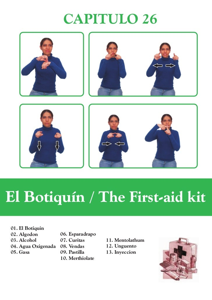 CAPITULO 26El Botiquín / The First-aid kit01. El Botiquin02. Algodon          06. Esparadrapo03. Alcohol          07. Curi...