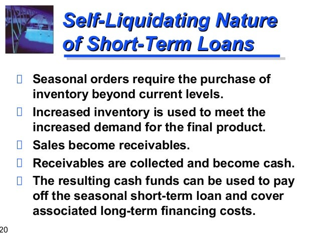 Self liquidating financing