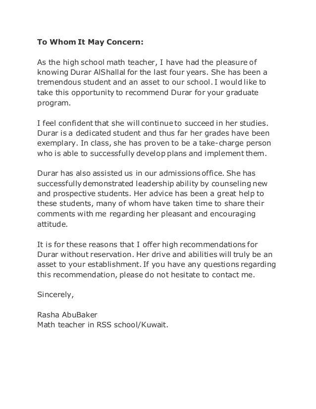 recommendation letter mrs  rasha