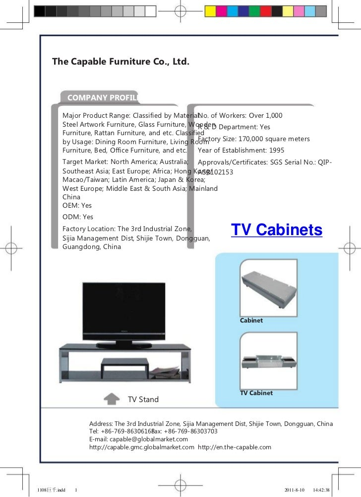 The Capable Furniture Co., Ltd.              COMPANY PROFILE         Major Product Range: Classified by Material: of Worke...
