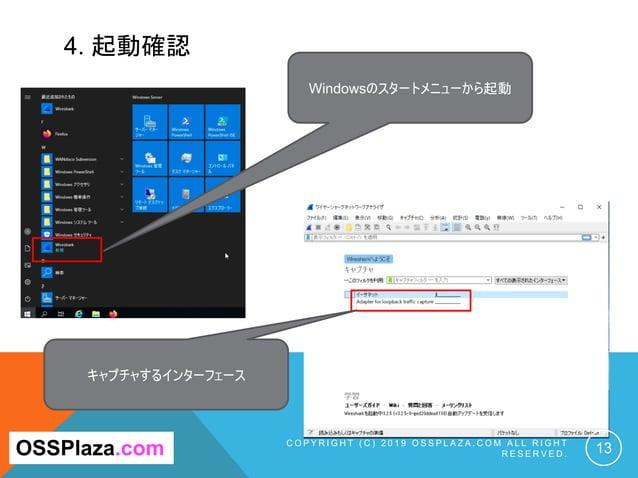 4. 起動確認 C O P Y R I G H T ( C ) 2 0 1 9 O S S P L A Z A . C O M A L L R I G H T R E S E R V E D . 13OSSPlaza.com Windowsのス...