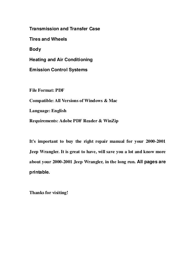 Transmission and Transfer CaseTires and WheelsBodyHeating and Air ConditioningEmission Control SystemsFile Format: PDFComp...