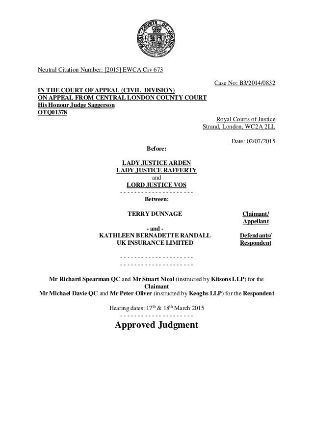 Dunnage v Randall UK Insurance Ltd - Approved Judgment.doc 2 July 20…