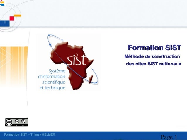 Formation SIST                                  Méthode de construction                                  des sites SIST na...