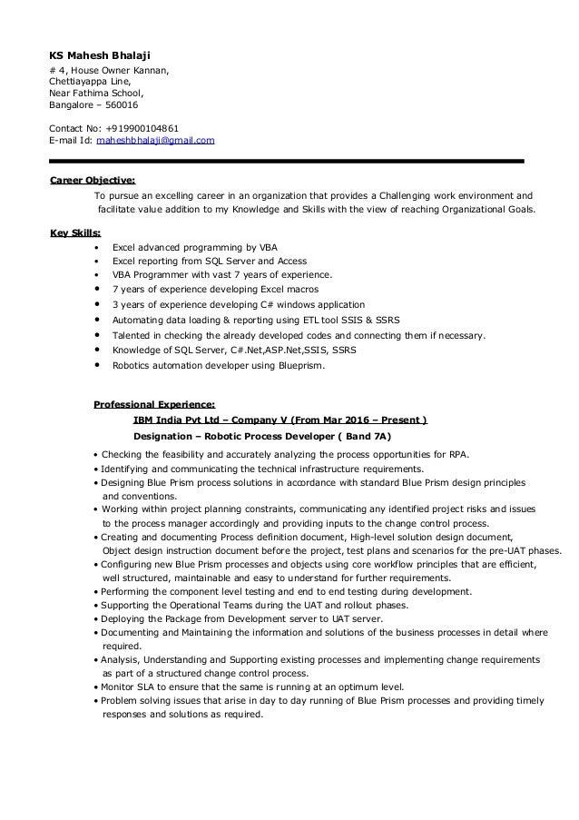 ks maheshbhalaji resume