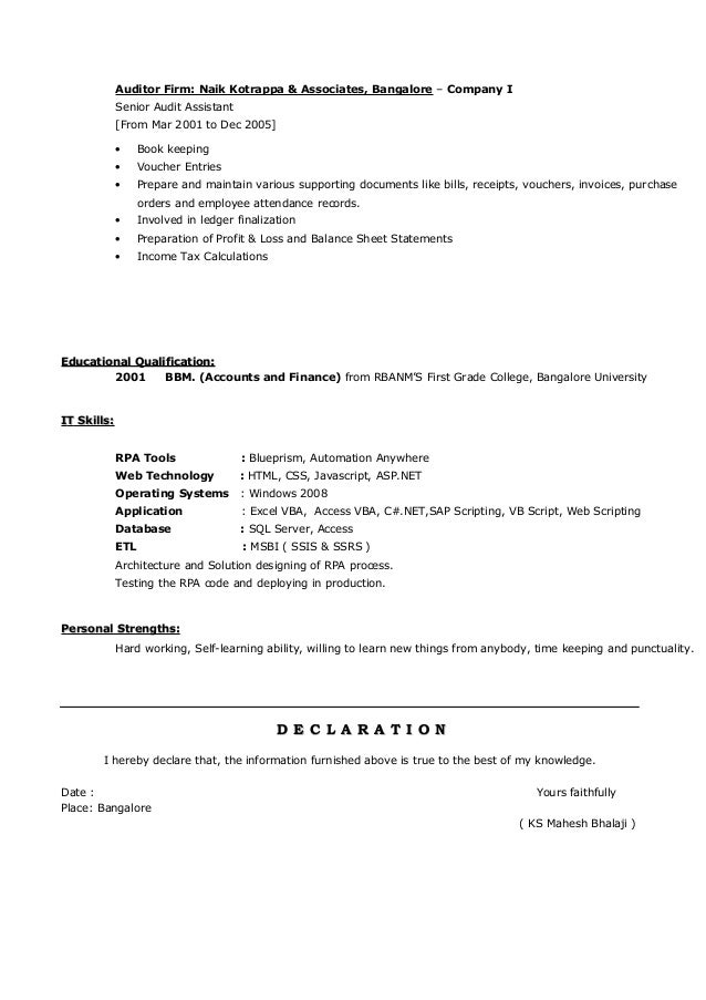 Sample Automation Anywhere Resume Tekslate - oukas info
