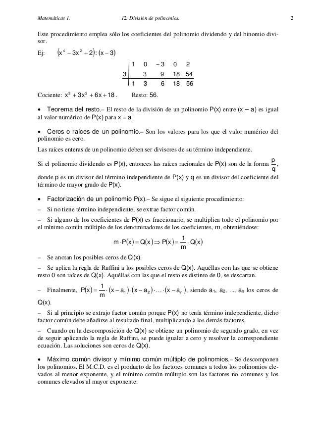 Matematicas Cuarto Eso | 028 Matematicas 4º Eso Division De Polinomios Apuntes Y Problemas