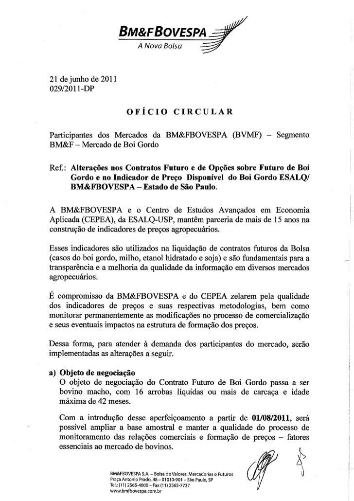 BM&FBovespa - Ofício Circular sobre alterações no Indicador e nos Contratos Futuro e de Opções sobre Futuro de Boi Gordo