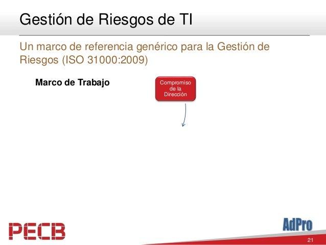 21 Gestión de Riesgos de TI Un marco de referencia genérico para la Gestión de Riesgos (ISO 31000:2009) Compromiso de la D...