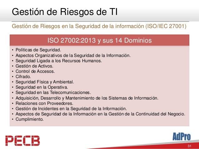 31 Gestión de Riesgos de TI Gestión de Riesgos en la Seguridad de la información (ISO/IEC 27001) ISO 27002:2013 y sus 14 D...