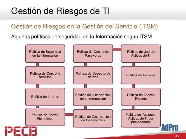 45 Gestión de Riesgos de TI Gestión de Riesgos en la Gestión del Servicio (ITSM) Algunas políticas de seguridad de la Info...
