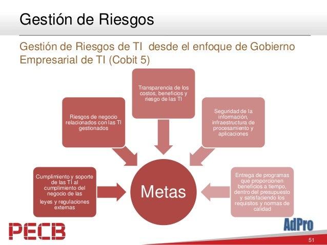 51 Gestión de Riesgos Gestión de Riesgos de TI desde el enfoque de Gobierno Empresarial de TI (Cobit 5) Metas Cumplimiento...