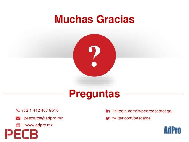? Preguntas Muchas Gracias +52 1 442 467 9510 pescarce@adpro.mx www.adpro.mx linkedin.com/in/pedroescarcega twitter.com/pe...