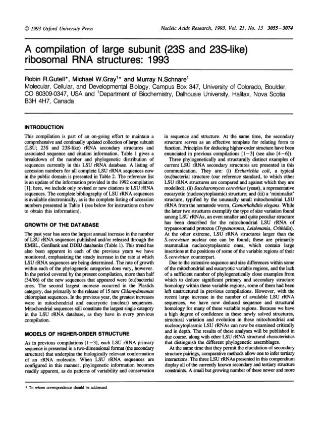 Nucleic Acids Research, 1993, Vol. 21, No. 13 3055-3074A compilation of large subunit (23S and 23S-like)ribosomal RNA stru...