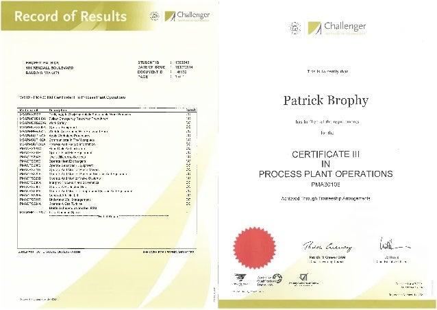 cert 3 process certificate