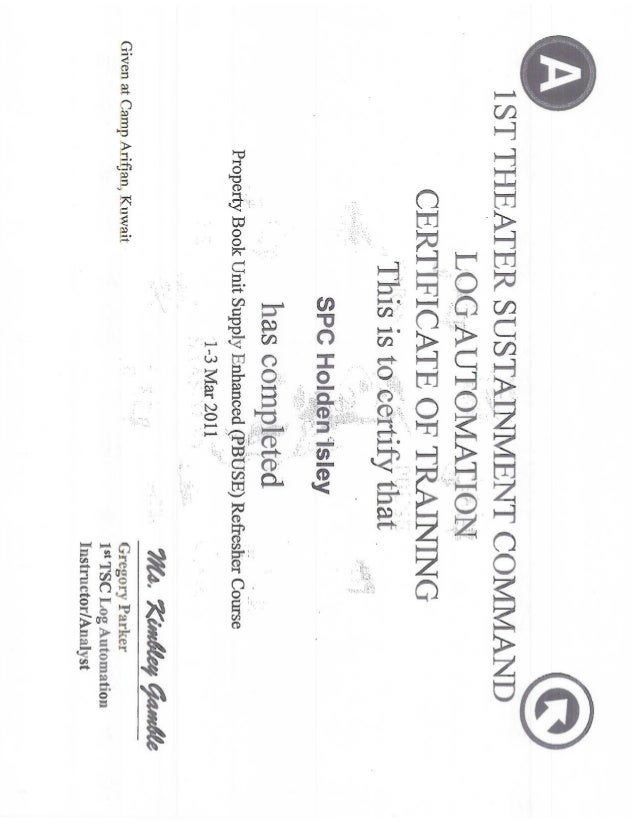 HOLDEN ISLEY PBUSE CERTIFICATE