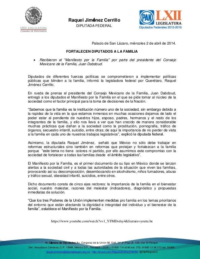 """Del. Venustiano Raquel Jiménez Cerrillo DIPUTADA FEDERAL H. Cámara de Diputados Av. Congreso de la Unión 66, Edif. """"H"""" 2º ..."""