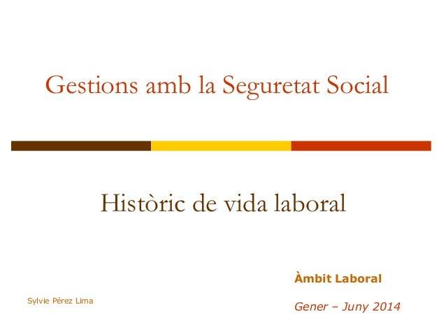 Gestions amb la Seguretat Social Històric de vida laboral Àmbit Laboral Gener – Juny 2014 Sylvie Pérez Lima