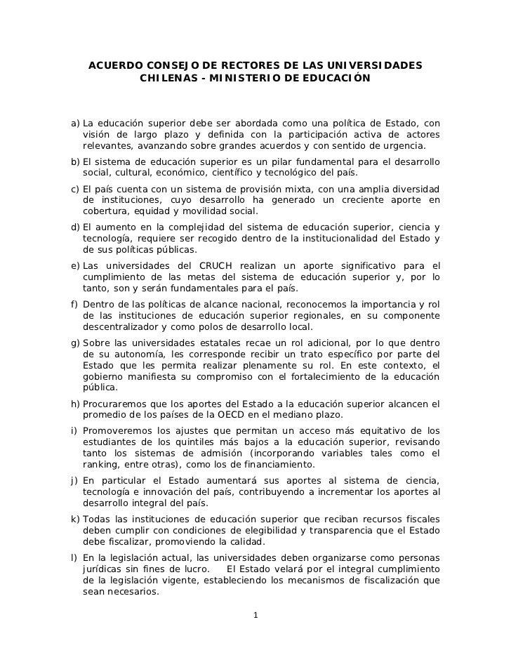 ACUERDO CONSEJO DE RECTORES DE LAS UNIVERSIDADES          CHILENAS - MINISTERIO DE EDUCACIÓNa) La educación superior debe ...