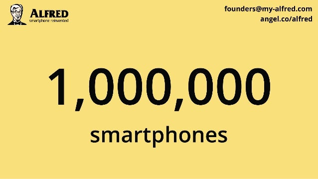 founders@my-alfred. com rrrrrrrrrrr einvented angeI. co/ alfred  1,000,000  smartphones