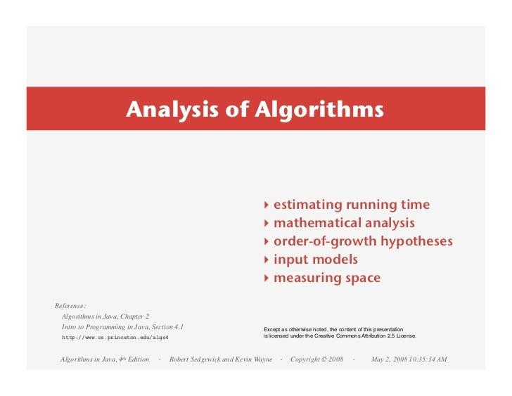 Analysis of Algorithms                                                                ‣    estimating running time        ...