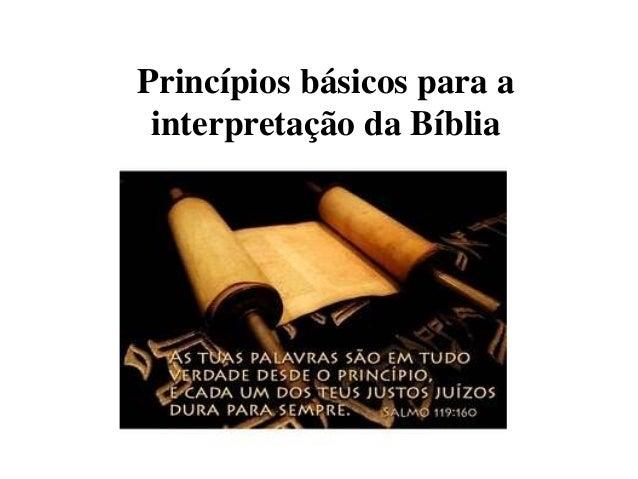 Princípios básicos para a interpretação da Bíblia