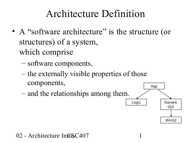 """Architecture Definition• A """"software architecture"""" is the structure (or  structures) of a system,  which comprise  – softw..."""