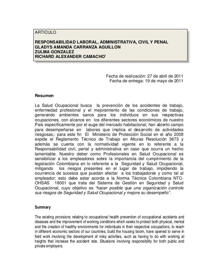 ARTICULORESPONSABILIDAD LABORAL, ADMINISTRATIVA, CIVIL Y PENALGLADYS AMANDA CARRANZA AGUILLONZULMA GONZALEZRICHARD ALEXAND...
