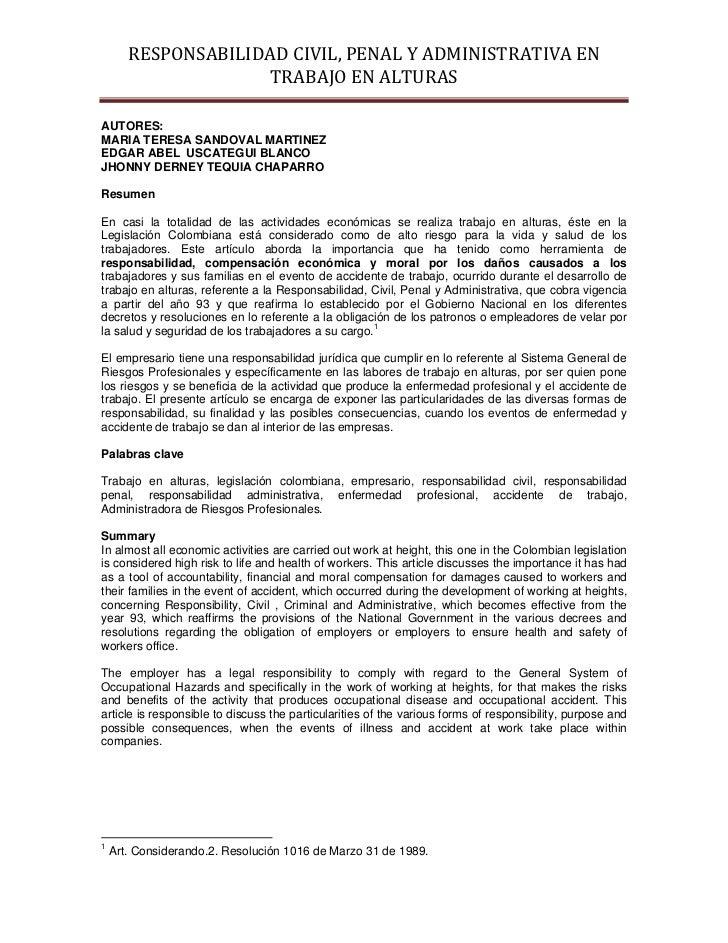 RESPONSABILIDADCIVIL,PENALYADMINISTRATIVAEN                      TRABAJOENALTURASAUTORES:MARIA TERESA SANDOVAL M...