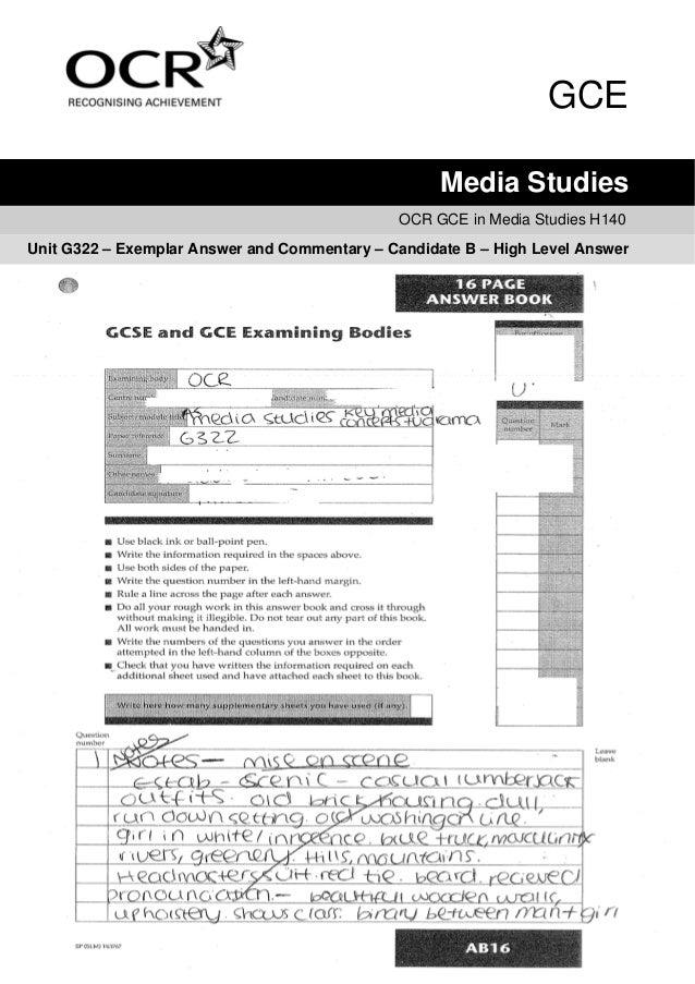 GCE                                                    Media Studies                                              OCR GCE ...