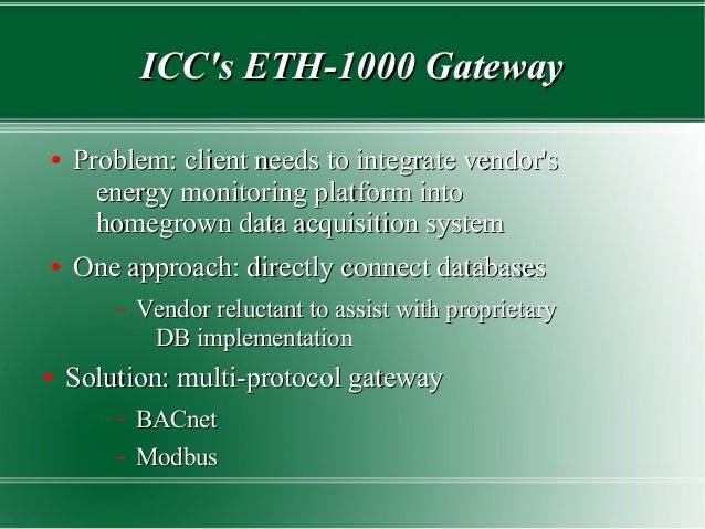 ICC's ETH-1000 GatewayICC's ETH-1000 Gateway ● Problem: client needs to integrate vendor'sProblem: client needs to integra...