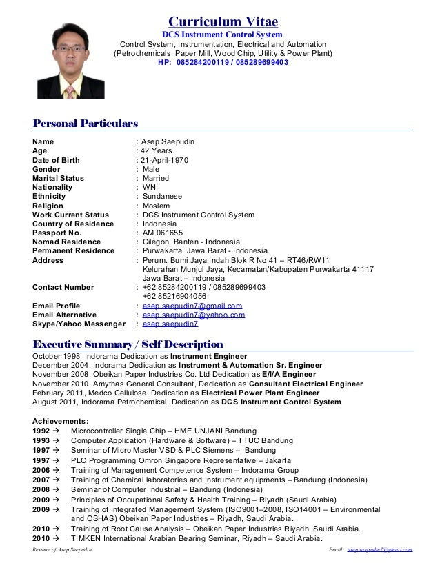 Curriculum Vitae  DCS Instrument Control System  Control System, Instrumentation, Electrical and Automation  (Petrochemica...
