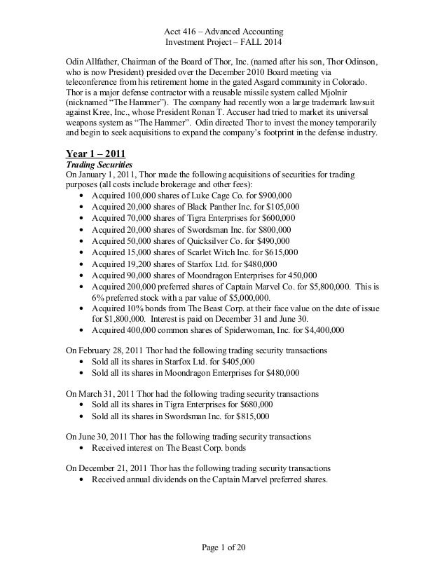 Consolidation project document f2014final acct 416 advanced accounting investment project fall 2014 odin allfather chairman of the ibookread Download
