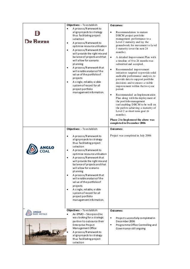 Objectives: - To establish:  A process/frameworkto alignprojects to strategy thus facilitatingproject selection  A pro...
